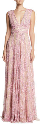 Naeem Khan Plunging Sleeveless Sequined A-Line Evening Gown