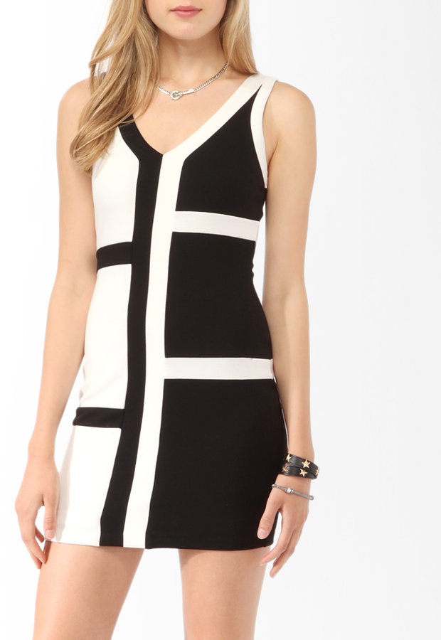 Forever 21 Contrast Paneled Bodycon Dress
