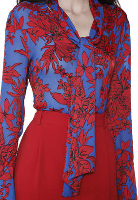 Alice + Olivia GWENDA LONG SLEEVE TIE NECK BLOUSE