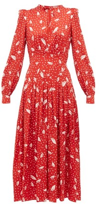 Alessandra Rich Polka Dot Silk Dress - Womens - Red White