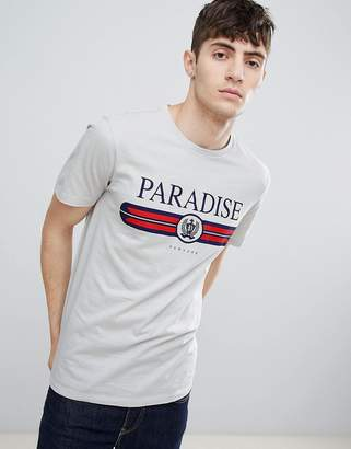New Look t-shirt with paradise print in light gray