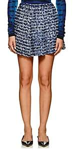Proenza Schouler Women's Fringed & Pleated Abstract-Print Crepe Miniskirt - Blue