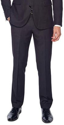 Jf J.Ferrar Black Geo Birdseye Dots Slim Fit Stretch Suit Pants