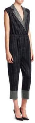 Emporio Armani Pinstriped Crossover Cropped Jumpsuit