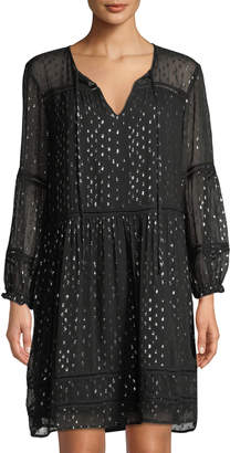 Velvet by Graham & Spencer Taci Metallic Chiffon Long-Sleeve Shift Dress