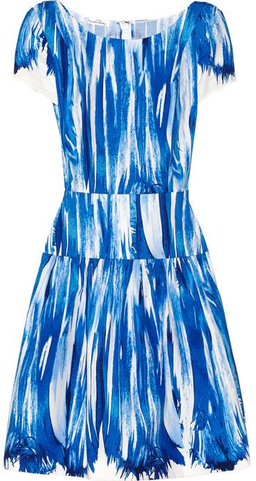 Oscar de la Renta Printed stretch cotton-blend dress