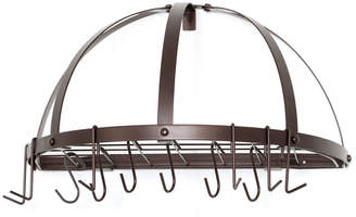 Old Dutch Oiled Bronze Pot Rack With Grid & 12 Hooks