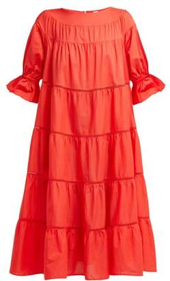 Merlette - Paradis Tiered Cotton Dress - Womens - Red