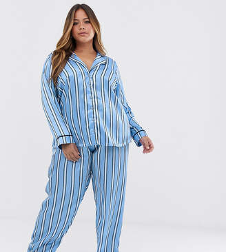 Asos DESIGN Curve satin stripe pyjama trouser set