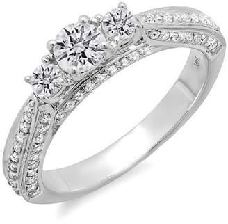 JeenJewels Round Three Stone Vintage Design 1 Carat Diamond Ring in 14k White Gold