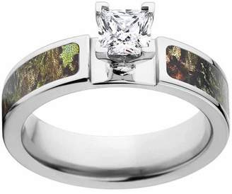 Mossy Oak Obsession Women's Camo Engagement Ring Cobalt and 14kt White Gold with Polished Edges and Deluxe Comfort Fit