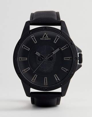 Asos Design Oversized Watch In Monochrome With Skull Design And Crystals