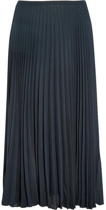 Vince - Pleated Chiffon Midi Skirt - Navy $265 thestylecure.com