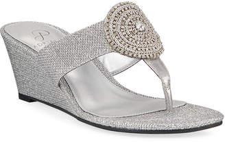 bd2cdf32e02 Adrianna Papell Cora Glittered Medallion Wedge Sandals