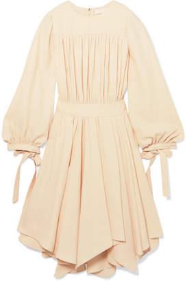 Chloé Asymmetric Gathered Cady Dress - Cream