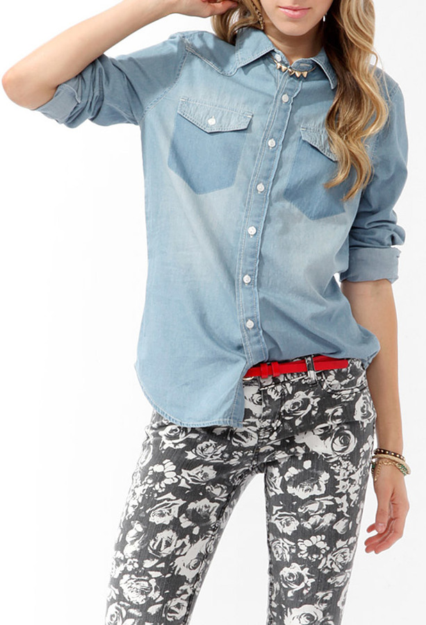 Forever 21 Denim Pocket Silhouette Shirt