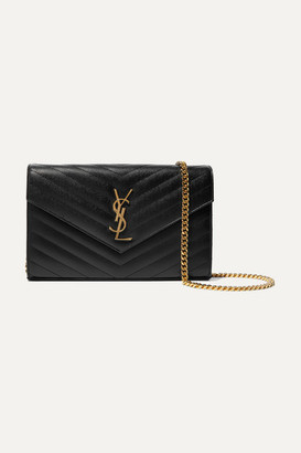 Saint Laurent - Monogramme Mini Quilted Textured-leather Shoulder Bag - Black $1,550 thestylecure.com