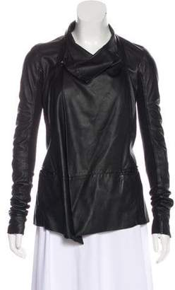 Rick Owens Rib Knit-Trimmed Leather Jacket Black Rib Knit-Trimmed Leather Jacket