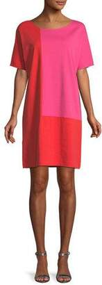 Joan Vass Short-Sleeve Colorblock Dress