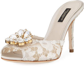 Dolce & Gabbana Keria Jeweled Lace High-Heel Slide Sandals - White