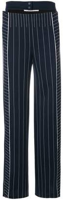 Valentino straight leg belted pinstripe trousers