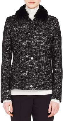 Akris Punto Tweed Jacket with Detachable Faux Fur Collar