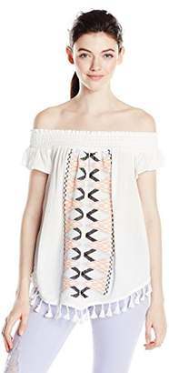 My Michelle Women's Ruched Off The Shoulder Top with Embroidery and Tassels