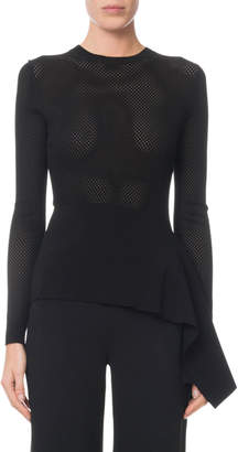 Roland Mouret Long-Sleeve Fitted-Mesh Draped-Peplum Sweater