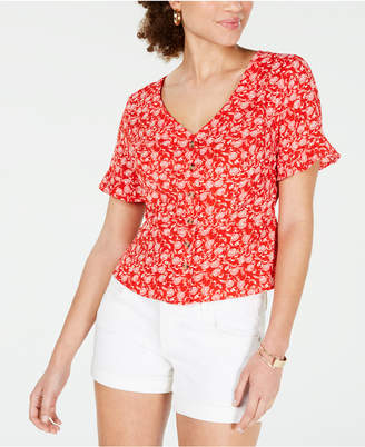 It's Our Time Hooked Up Juniors' Printed Peplum Top