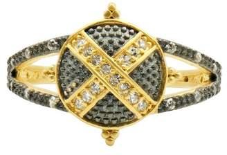 Freida Rothman 14K Yellow Gold & Black Rhodium Plated Textured Ornaments Cross-Cross Cocktail Ring - Size 5