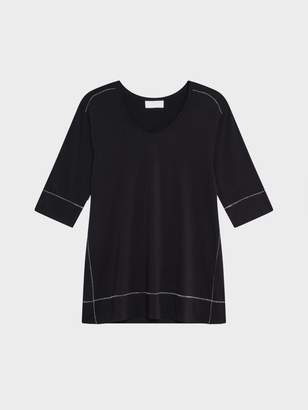 DKNY Pure V-Neck Top With Contrast Stitch Black/Cream S
