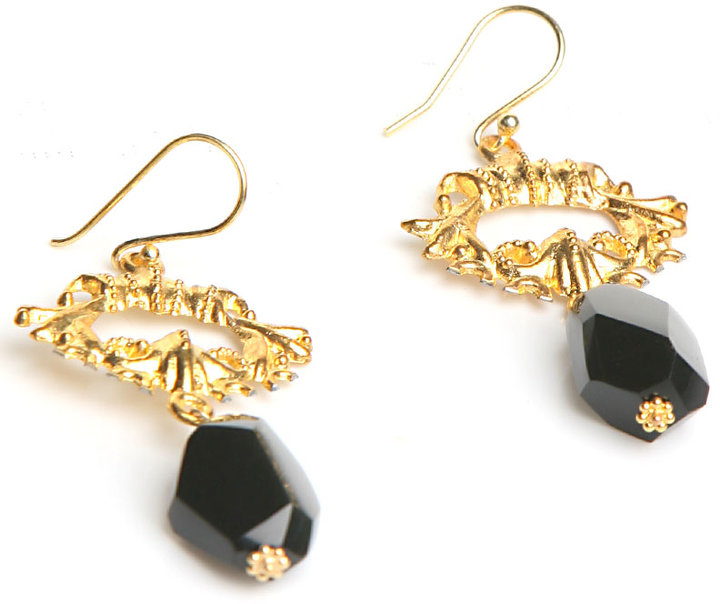 Kuo Ting Jewelry Black Onyx Nugget Earrings in Gold