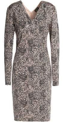 Just Cavalli Crystal-Embellished Leopard-Print Stretch-Jersey Dress