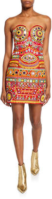 Moschino Embroidered Strapless Mini Dress