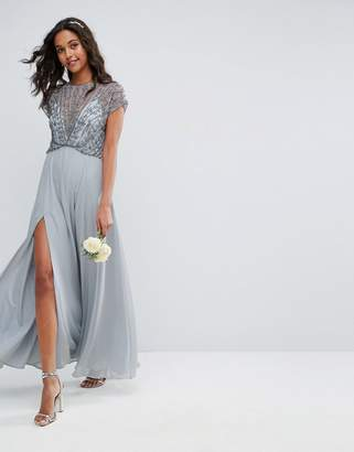 Asos Design Bridemaid Delicate Beaded Bodice Maxi Dress