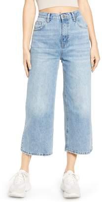 Topshop High Waist Crop Flare Nonstretch Jeans