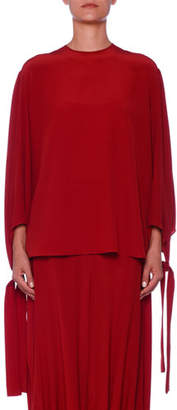 Stella McCartney Tie-Cuff Silk Tunic Blouse