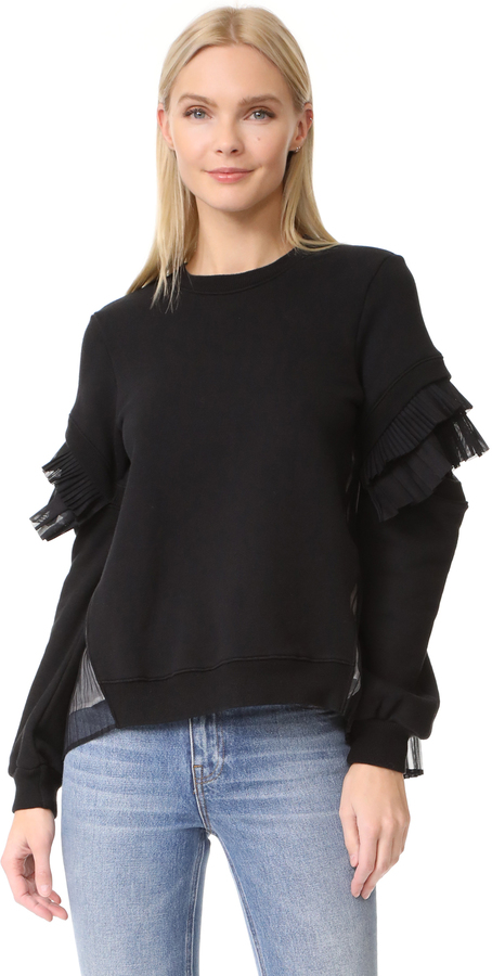 Clu Clu Contrast Pleated Sweatshirt