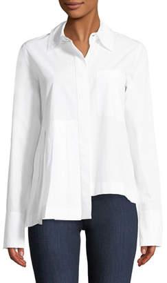 Robert Rodriguez Long-Sleeve Button-Front Cotton Shirt with Asymmetric Pleat Detail