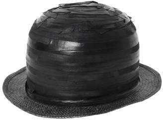 Möve Striped Patchwork Leather Bowler Hat