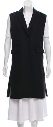 Veronica Beard Wool Sleeveless Knee-Length Coat