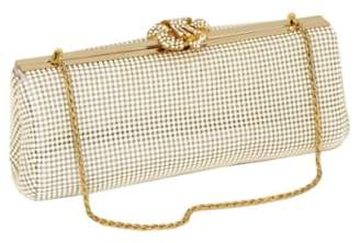 Whiting & Davis 'Crystal Flower' Metal Mesh Clutch