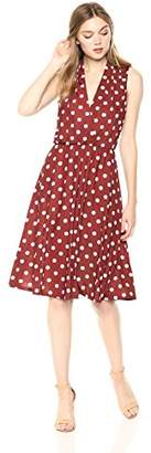 Wild Meadow Women's Sleeveless Wrap Bodice Tea Length Polka Dots Dress XL Brown and White
