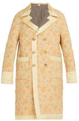 Gucci Reversible Floral Print And Checked Quilted Coat - Mens - Cream