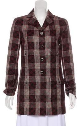 Chanel Plaid Button-Up Coat