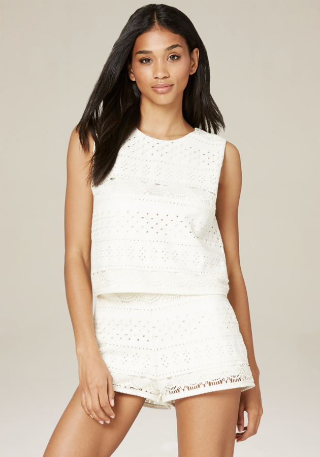 Faux Leather Eyelet Top