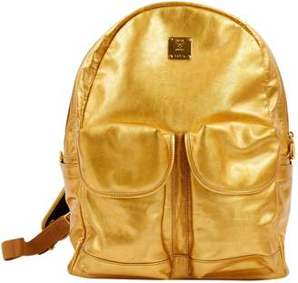 MCM Gold Leather Travel Bag