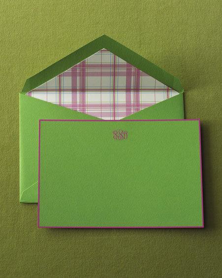 Crane Apple Green Cards & Madras-Lined Envelopes