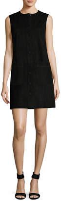 Helmut Lang Leather Front Placket Shift Dress