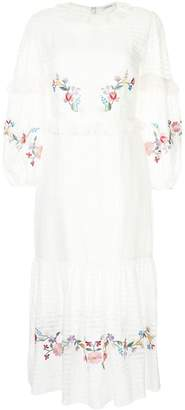 Vilshenko floral embroidered frill trim dress